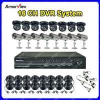 al por mayor 16 ch circuito cerrado de televisión del canal-16 CH canal CCTV H.264 DVR Kit vigilancia DVR sistema + 16 x interior amp; Cámaras de seguridad al aire libre CC