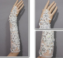Wholesale Semitransparent White Ivory Bridal Gloves Fingerless Beaded Rhinestones Applique Elbow Length