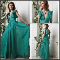 V-Neck aqua plus size prom dress - 2016 New Dresses Aqua V neck Ruffle Backless Chiffon A line Formal Dresses Evening Dress Prom Gown
