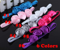 Wholesale Hot Sale Chiffon Flower Girls Headbands Rose Flower Baby Children Hairbands Kids Hair Accessory