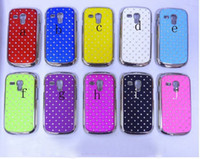 Plastic For Samsung  New Bling diamond crystal chrome electroplate Hard case cover For Samsung Galaxy SIII mini i8190
