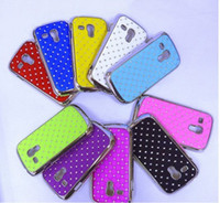 Plastic For Samsung Wholesale Bling diamond crystal chrome electroplate Hard case cover For Samsung Galaxy SIII mini i8190