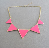 Wholesale Europe and the United States style pink green blue triangle necklace