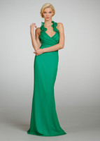 Wholesale Bridesmaid Dresses Jade Chiffon Halter Neckline Sleeveless Floor length Hemline