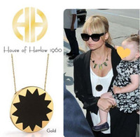 Wholesale 14 Karat Yellow Gold Plated House of Harlow Sunburst Black Leather Pendant Necklace Free Shippi