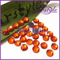 Wholesale Supper Shiny DMC SUN ORANGE Color Hotfix Rhinestones Flatback Crystals SS6 SS10 SS16 SS20 SS30