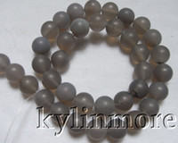 Wholesale 8SE09074a mm Frosted Grey Agate Round Beads
