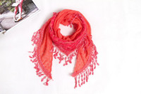 Wholesale Women s Silk Scarves Lace Rose scarf triangular Lady Girl s long winter warm Shawls Scarf