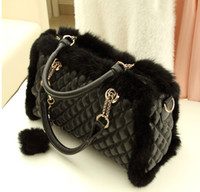 Wholesale 2013 new female Korean Vintage rabbit fur bags leather bags Lingge Chain Bag Shoulder Bag Handbag