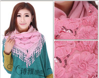 Wholesale Women s Silk Scarves Lace Angora scarf triangular Lady Girl s long winter Shawls w Sequins