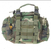 Wholesale Vintage Multi Pocket Nylon Cloth Handbag Messenger Waist Bag for Camera Woodland Camouflage