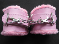 Wholesale Pink PU Furry Handcuff Female Hand Cuff Wrist Restraint SM Bondage Sex Product Pleasure Toy YTJ1073