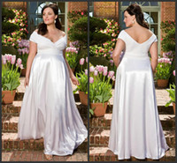 Wholesale 2013 Plus Size New Sexy V Neck Lace A Line Floor Length Full Figure Maternity Garden Wedding Dresses
