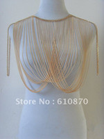 Wholesale New arrival gold metal body chain jewelry multilayer tassel choker necklace Exaggerated bib jewel