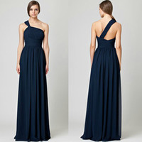 Wholesale One shoulder Dark Navy Blue Chiffon Floor length Sheath Evening Gowns Bridesmaid Dress BD240