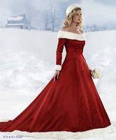 Wholesale 2013 long sleeve Red Christmas dresses Hot New winter fall dresses A line Wedding Dresses xmas1