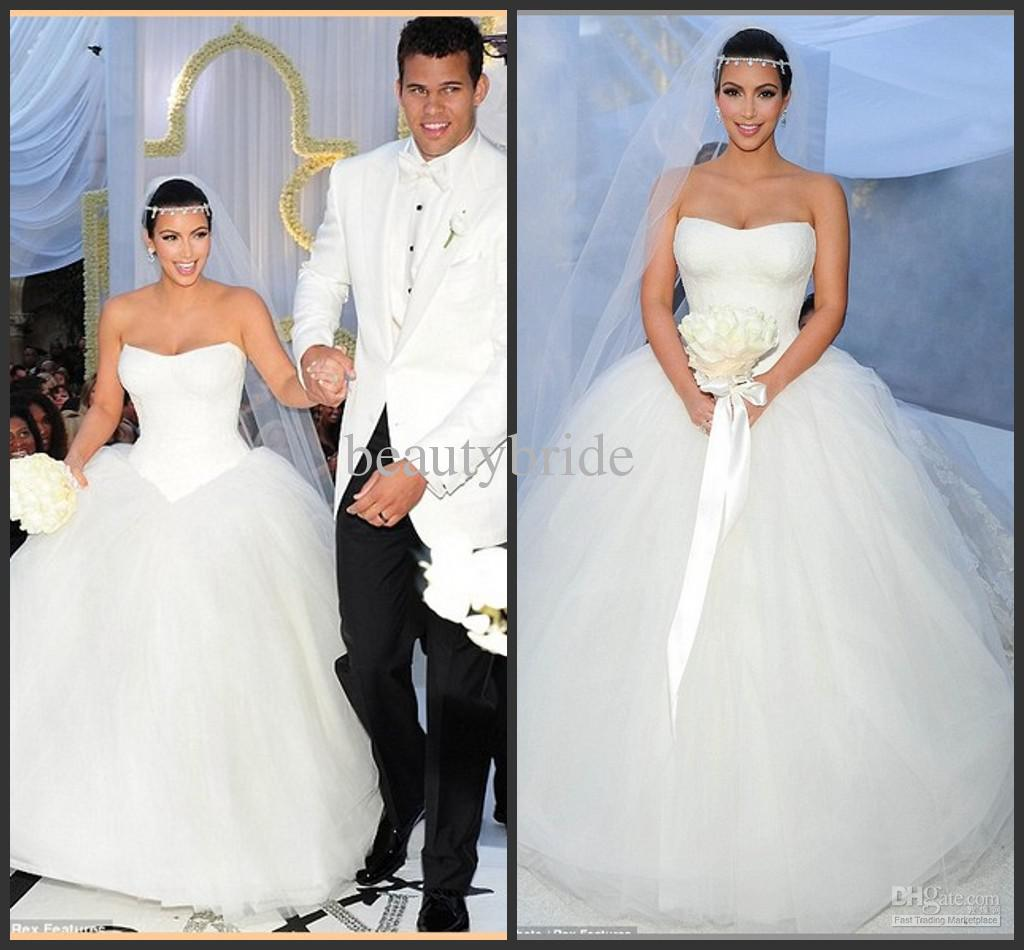 2016 Popular Ball Gown Lace And Tulle Kim Kardashian Wedding Dress ...