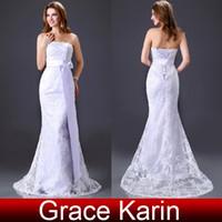Grace Karin New Stock White Strapless Lace Wedding Dress Bri...