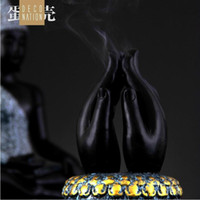 Wholesale JI XIANG Buddha s hand shaped incense burner ceramic lid type sandalwood furnace
