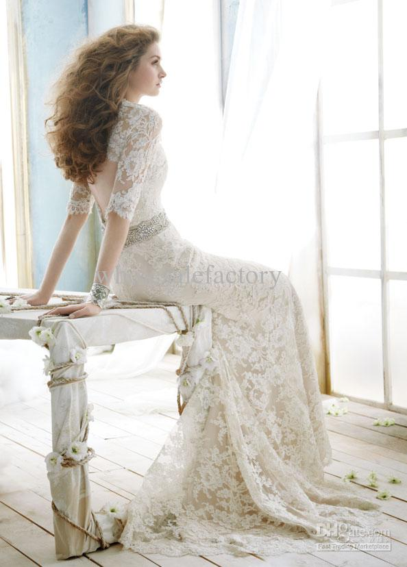 Hairstyles for long sleeve wedding dress