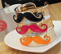 Wholesale Bracelet High quality beard whisker moustache cuff bangle bracelets women Jewelry color