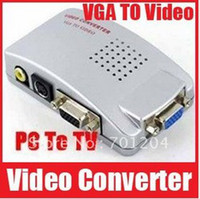 Wholesale Universal PC VGA to TV AV RCA Signal Adapter Converter Video Switch Box Supports NTSC PAL System Fr