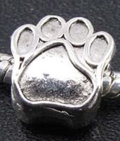 Wholesale 28pcs Tibetan Silver Paw prints Spacers Big Hole Beads Fit Charm Bracelet mm