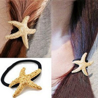 Wholesale Exclusive golden starfish sea star HAIRPIN HAIP LOOP BARRETTE BOBBYPIN Feathered hairpins Jewelry