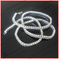 Wholesale quot Single Row Iced Out Bling Bling Crystal Necklace Hip Hop Fashion Jewelry