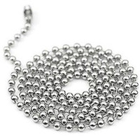 Unisex Fashion Necklaces 100pcs Free Shipping 2.4mm 24inch Stainless Steel Ball Beads Necklace Chain Stainless Steel Ball Cha