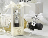 Wholesale Wedding Reception Gifts Fleur de Lis Elegant Chrome Wedding Bottle Stopper For Party Favor