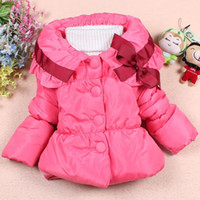 Wholesale Girl s Autumn Winter Lovely Bow design Coat Children s Outwear Baby Cotton Clothes Kids Jacket