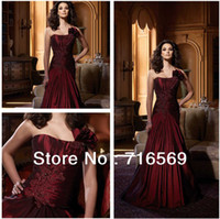 red red wine - Sexy one shoulder red wine taffeta Plus size mother of the bride dress