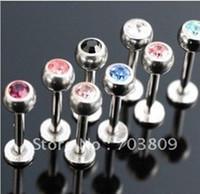 Wholesale wholesales mix colors steel CZ gem body jewelry lip piercing labret