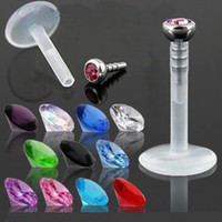 Wholesale wholesales mix colors CZ gem boiflex body piercing lip labret jewelry