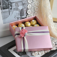 Favor Boxes Purple Paper Hot fashion wedding favor boxes big gift packaging box luxury purple wedding gift box with flowers