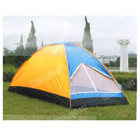 Wholesale Durable Canvas Material Two Person s Tent with Carrying Bag for Outdoor Activities Blue with Orange