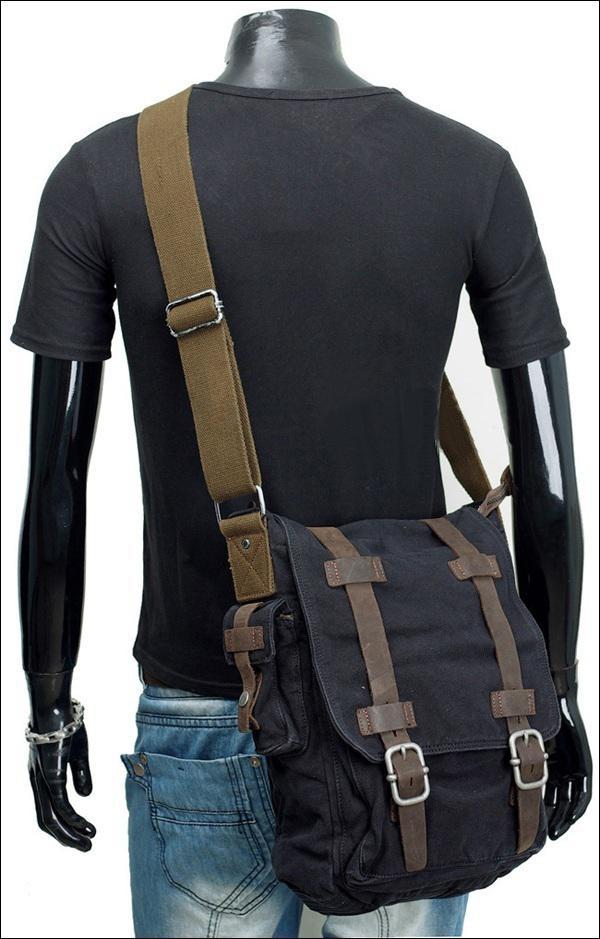 BLACK Khaki Military Vintage Men's Canvas Leather Laptop Satchel ...