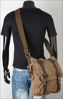 Wholesale Newest Military Vintage Men s Canvas Leather Laptop Satchel Messenger Shoulder Bags