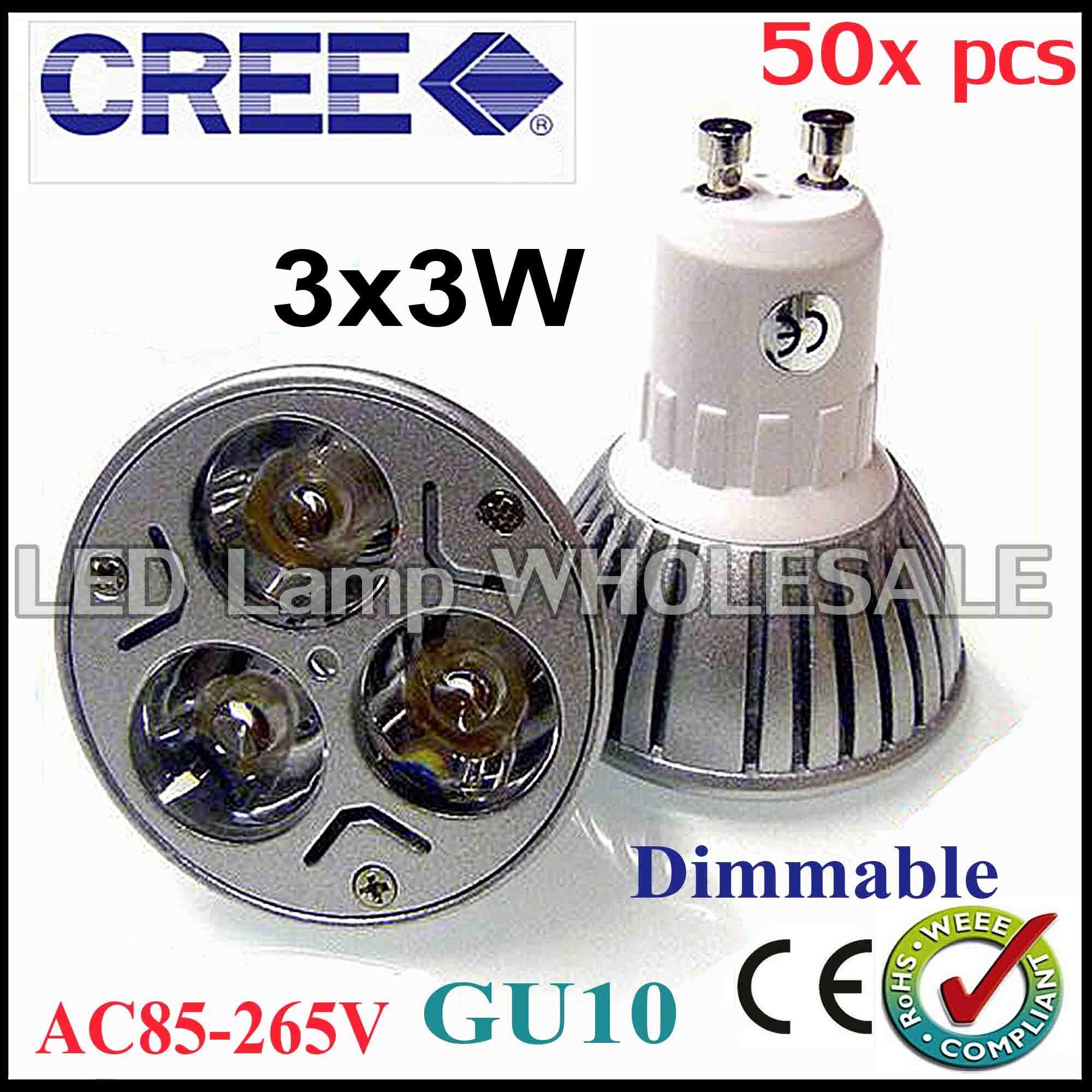50X High Power Dimmable GU10 E27 MR16 3x3W 9W Spotlight Lamp CREE LED