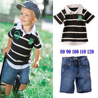Wholesale boy s short sleeved cotton striped T shirt short Jeans pants baby set sportswear tracksuit x s