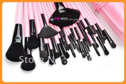 Wholesale 32 Pink Professional Make Up Makeup Cosmetic Brush Set with Black Leather Case M