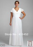 Reference Images V-Neck Chiffon NEW!Ivory V-neckline Chiffon A-Line Gown with Flutter Sleeves Floor Length bride's wedding dresses Style 9OP1233