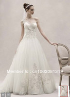Wholesale Actual Image One Shoulder Tulle Ball Gown with silver Lace Appliques A line wedding dresses CKP421
