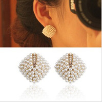 Wholesale New Arrival Fashion Korean Style Gold Plated Rhinestone Pearl square Earrings Ear Stud pairs