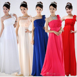 Wholesale New Elegant Flower Pleated One Shoulder Bridesmaid Wedding Party Dress Ball Gown