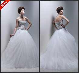 Wholesale Custom Made Gorgeous Ball Gown Strapless Floor Length Applique Beaded Net Tulle Wedding Dresses