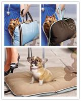 Wholesale washable pet dog cat carrier bag foldable mat shoulder bag blue amp coffee