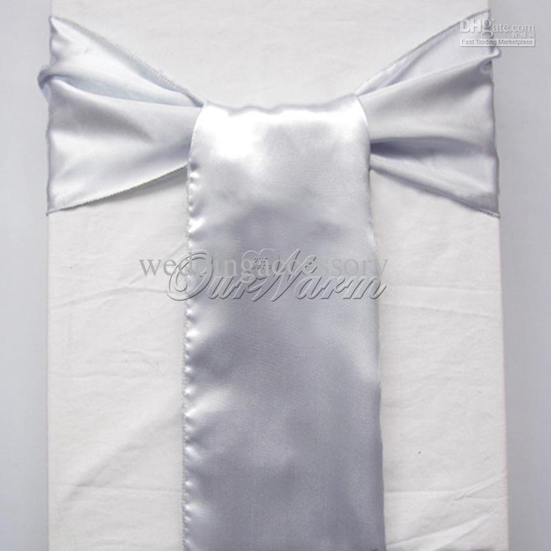 50 dark silver grey gray satin chair sashes banquet sash wedding bows