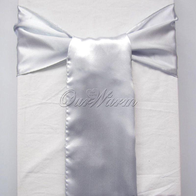 50 dark silver grey gray satin chair sashes banquet sash wedding bows